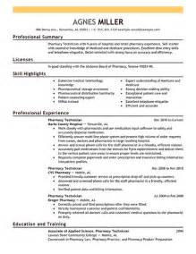 Pharmacy Technician Resume Exles by Pharmacy Resume Sle Sle Resumes