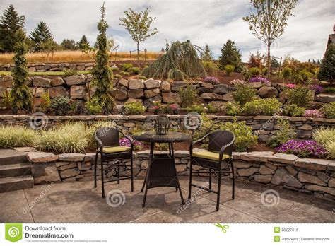 backyard terrace modern stone terraced luxury yard royalty free stock