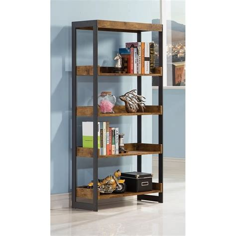 coaster estrella 4 shelf bookcase in antique nutmeg 800657