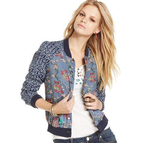 Blue Floral Boomber Printing bomber jacket print designer jackets