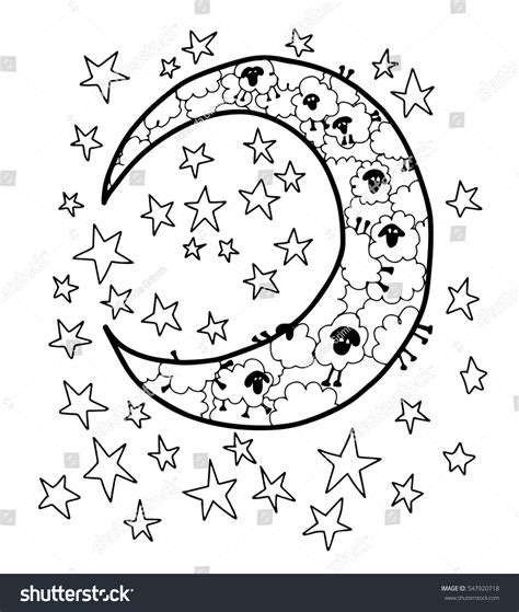 counting sheep coloring page counting sheep moon stars blank coloring stock vector