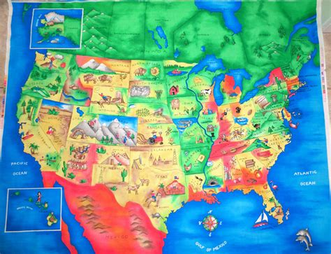 us map fabric u s map fabric panel quilt top wallanging colorful united