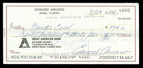 Cgi Background Check 100 Eddie Arcaro Signed Personal Checks