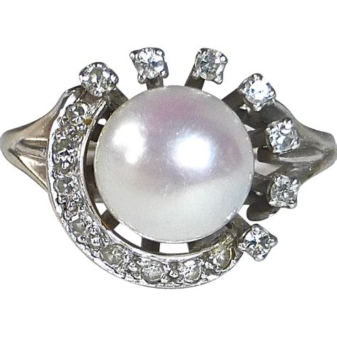 14k art deco pearl amp diamond crescent ring from bejewelled