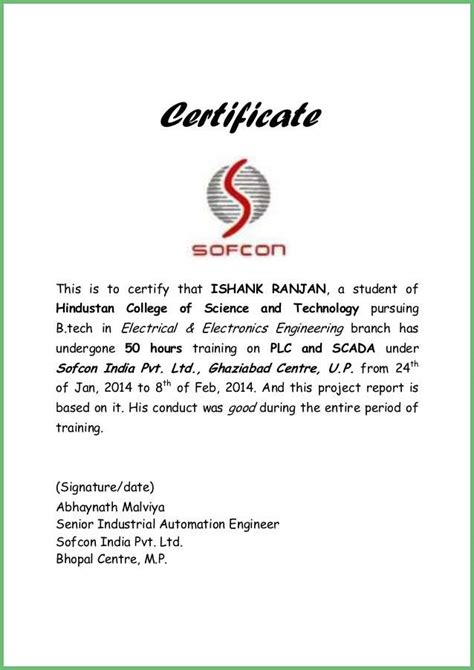 certification letter for trainee lovely electrician experience certificate format picture