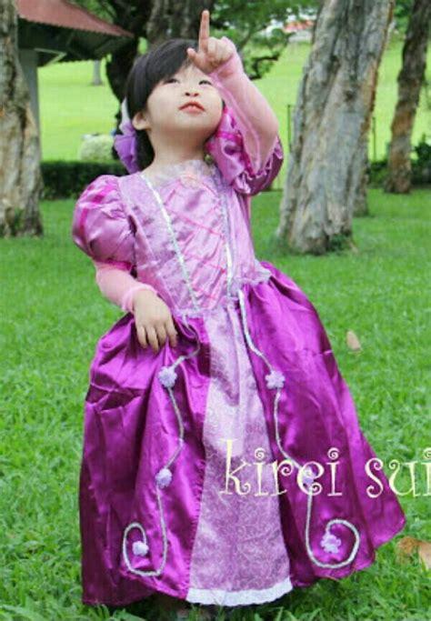 Dress Anak Dress Mee jual baju dress kostum rapunzel princess ungu import