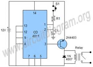simple time delay switch using cd4011 circuit diagram