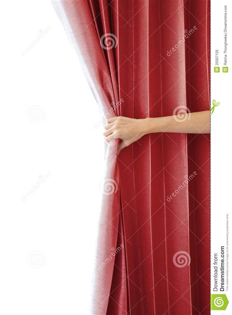 opening the curtain opening the curtain and hand royalty free stock image