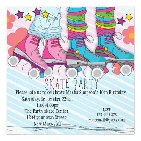Skating Birthday Card Template by Roller Skating Birthday Invitation Zazzle