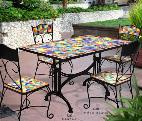 table de jardin en fer forge mosaique jsscene des