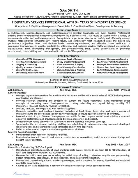 9 best best hospitality resume templates sles images