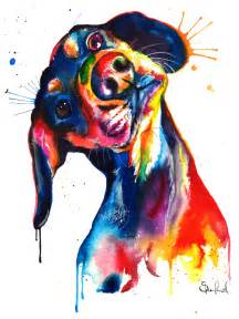 water color drawings colorful dachshund wienerdog watercolor print print of