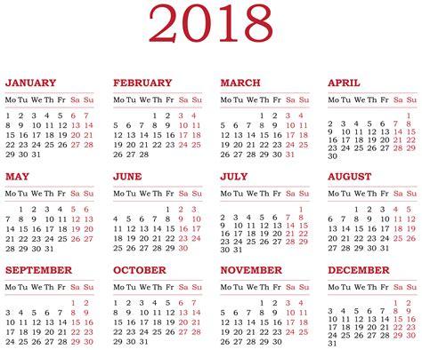 Calendar 2018 Png 2018 Calendar Transparent Png Clip Gallery