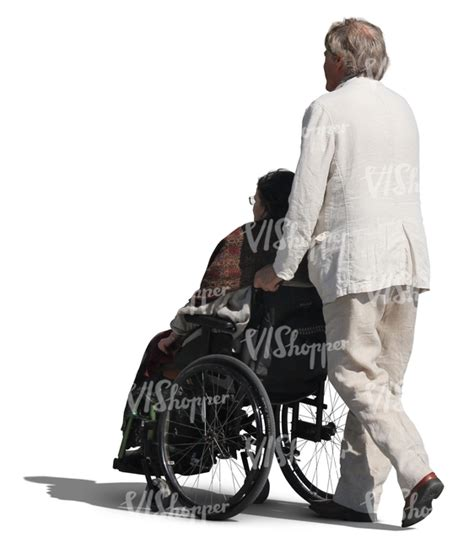 elderly man pushing a woman in a wheelchair   cut out