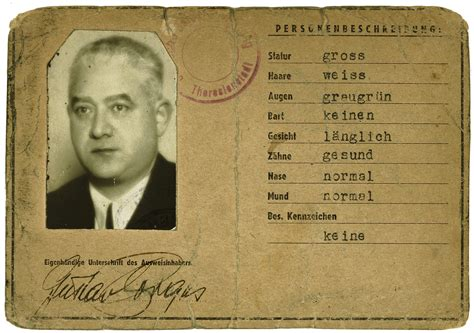 Printable Holocaust Id Cards | identification card issued in the theresienstadt