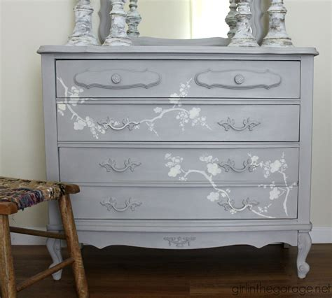 chalk paint grey chalk paint and cherry blossoms a dresser makeover
