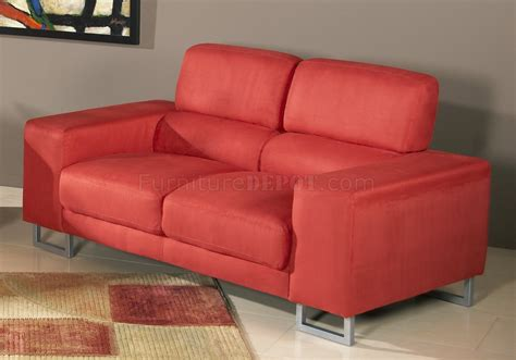 red reclining sofa microfiber red microfiber modern sofa loveseat set w metal legs