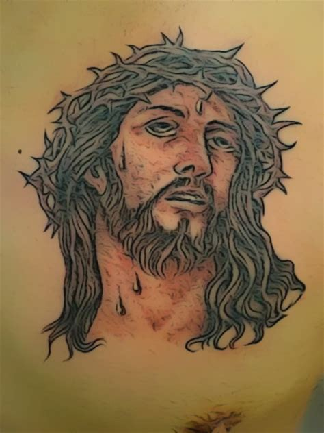 jesus thorn tattoo jesus with crown of thorns tattoo only skin deep tattooing