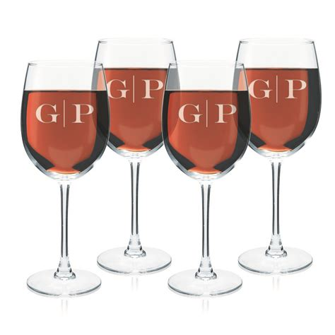 monogrammed barware glasses monogrammed set of four wine glasses