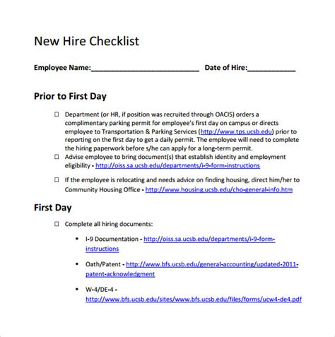 new hire packet forms bing images