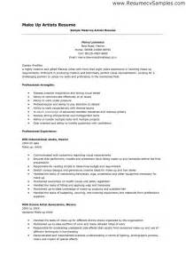 Commercial Artist Sle Resume by Entry Level Makeup Artist Resume Sle Makeup Vidalondon