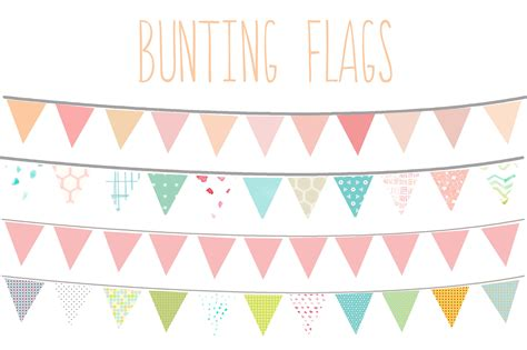 design banner cute bunting flags clip art illustrations creative market