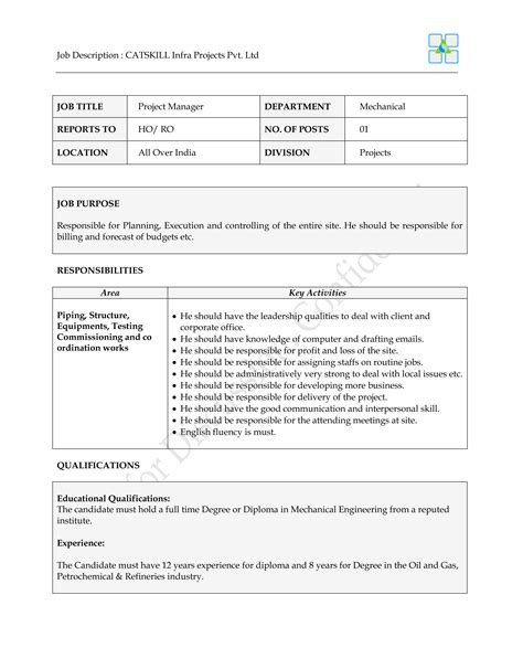 project manager and resume and mechanical and construction