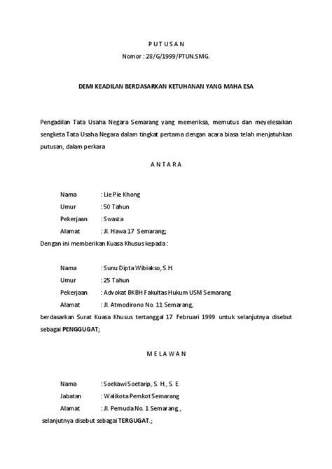 Contoh Surat Gugatan Pengadilan Tata Usaha Negara