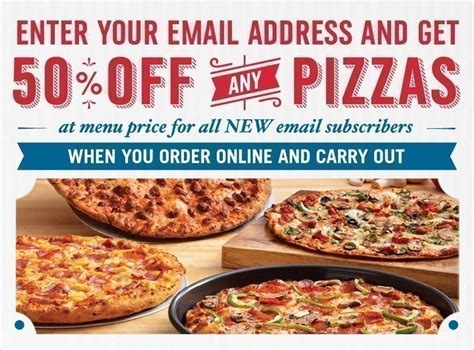 domino pizza email domino s pizza 50 off any pizza at menu price with