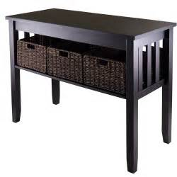 Entryway Table With Baskets Morris Console Table With 3 Baskets Espresso Walmart