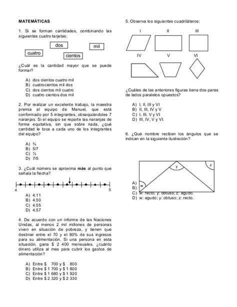 examenes de la olimpiada del conocimiento infantil 2016 sexto grado matematicas olimpiada de conocimiento infantil 2014