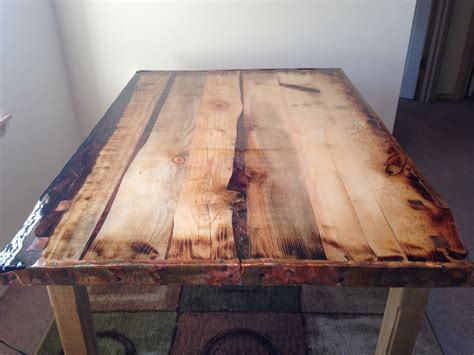epoxy finished rustic dining table  steps