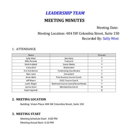 38 Free Sle Meeting Minutes Templates Sle Templates Team Meeting Minutes Template Free
