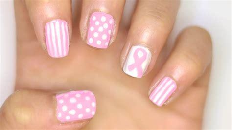 nail art ribbon design tutorial breast cancer awareness nail art pink nail tutorial