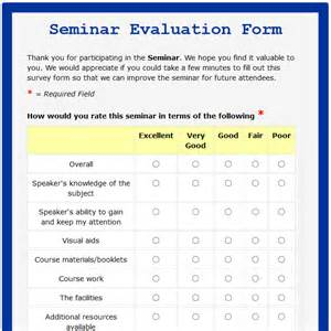 Seminar Survey Template by Formwize Exles