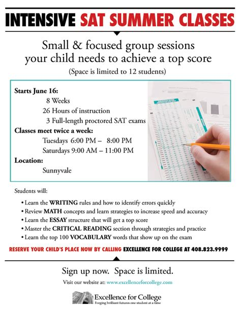 Sections On The Sat by Intensive Sat Summer Class Excellence For College