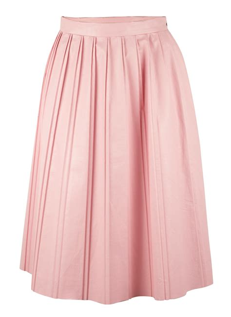 suno pleated faux leather skirt in pink