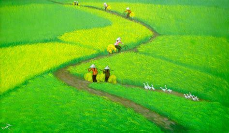ngoc original asian art sun   rice field