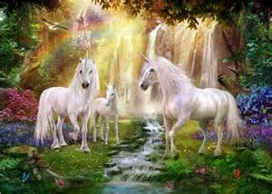 Wallpapers For Rooms jan patrik krasny waterfall glade unicorns poster