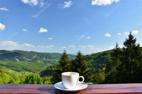 coffee wallpaper landscape morning cup of coffee with a beautiful mountain landscape