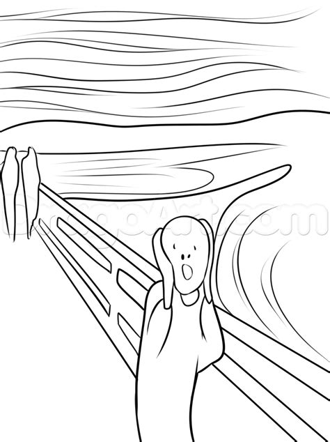 How to Draw The Scream, The Scream of Nature, Step by Step