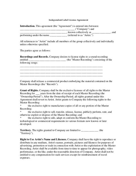 label agreement template label agreement template 28 images recording contract