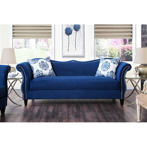 royal blue sectional sofa furniture of america churcox velvet sofa in royal blue