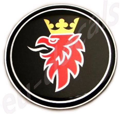 50mm 2 00inc saab black griffin chrome badge emblem