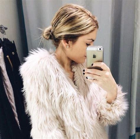 celebrity pink winter jacket coat celeb cute girly faux fur faux fur coat pink