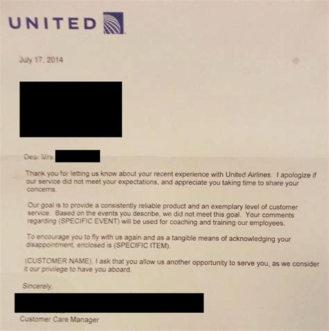 change fee united this awesome letter to customer service got american