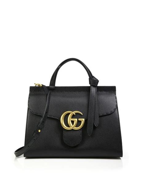 gucci gg marmont leather top handle bag in silver black leather lyst