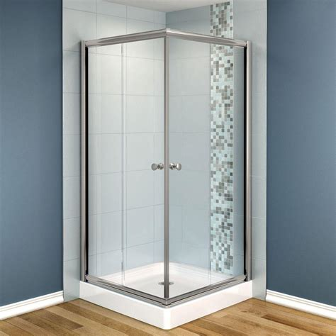 White Shower Doors Bathroom Contemporary Square Corner Glass Shower Door With White Bathroom Wall And Solid Wood