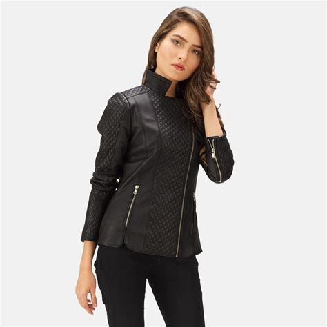black leather womens womens orient grain quilted black leather biker jacket