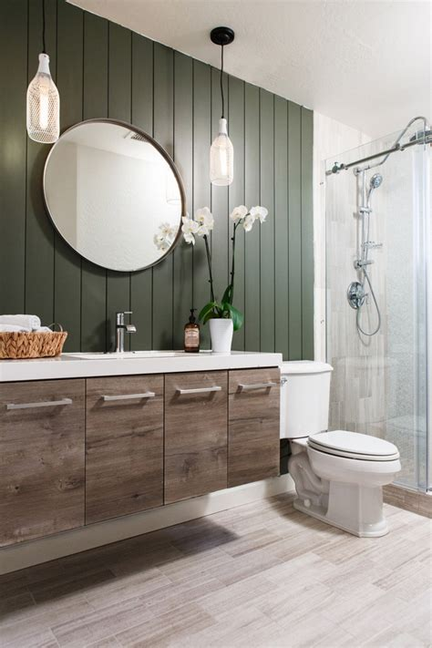 Shiplap Bathroom by Bathroom Makeover Using Vertical Shiplap Appearance Boards